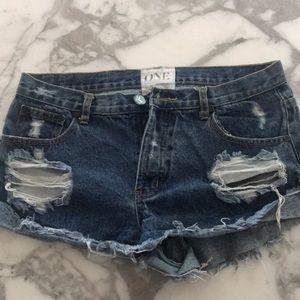 One teaspoon denim jean mini shorts 28